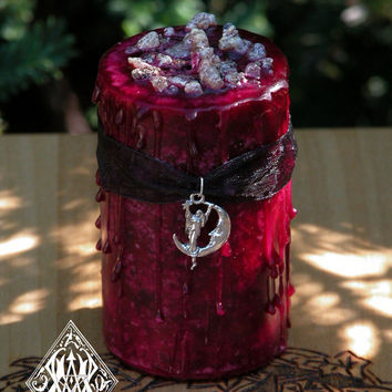 Blood Moon Lunar Alchemy Witches Alchemy Candle . Lunar Magick, Goddess Workings . Dark Earthly Moonflower, Bladderwrack and More