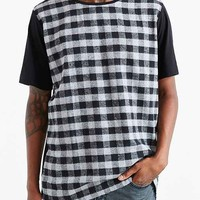 Kill City Plaid Flannel Front Crew Neck Tee- Black
