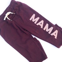 MAMA Joggers - Plum w/ Metallic Rose Gold Print