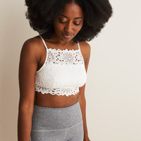Aerie Lace High Neck Bralette, Soft Muslin