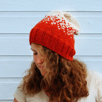 Warm winter hat - Asymmetrical fair isle knit