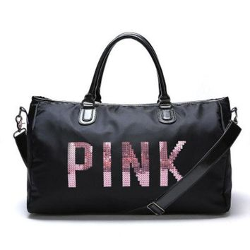 """"""" Pink """" Printed High Quality Durable Victoria's Secret Like Sport Exercise Carry on Yoga Gym Travel Luggage Bag"""
