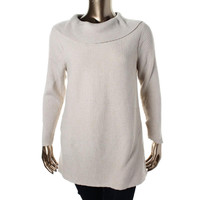 Alfani Womens Metallic Knit Pullover Sweater