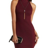 Bodycon Ribbed Turtleneck Dress by Charlotte Russe - Burgundy Cmb