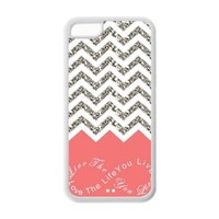 Coral Infinity Chevron Live the Life You Love, Love the Life You Live Design TPU Back Cases Covers for Apple Iphone 5c