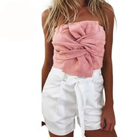 Summer Women Suede Crop Top Bow Front Slash Neck Sleeveless Tank Top Zipper Bustier Cropped Tube Tops Blusa Pink/Grey