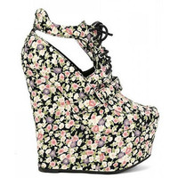 Vanish-03 Black Pink Floral Wedge High Heel Platform Shoes