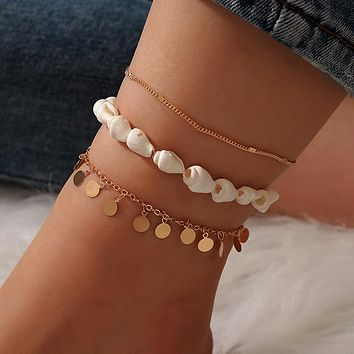 Conch Tassel Anklets for Women Shell Gold Wafer Foot Chain Barefoot sandals Jewelry