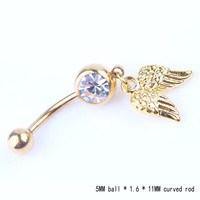 New Fashion Golden Wings Navel Belly Button Ring Bar Body Piercing For Gift