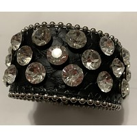 Ladies Exaggerated Rhinestone Faux Leather Detail Bracelet
