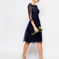 Chi Chi London Bardot Neck Midi Dress with Premium Lace and Tulle Skirt at asos.com