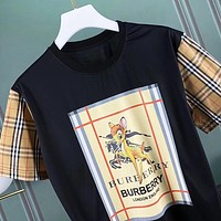 Burberry New fashion letter fawn print couple top t-shirt Black