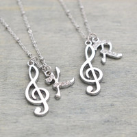 music charm necklace, personalized jewelry, music note necklace, silver necklace, best friend necklace, set of 2, treble clef, christmas