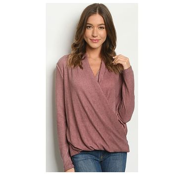 BLACK FRIDAY SPECIAL! Adorable Mauve Surplice Top