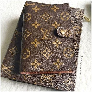 LV Louis Vuitton Fashionable Hot Sale  Chic Notebook Portable Hand Book Writing book Coffee LV Print