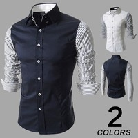Slim Long Sleeve Men Stripes Korean Stylish Casual Shirt [10831835011]