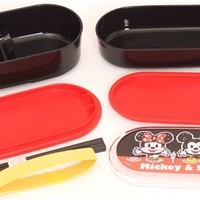 black Mickey and Minnie Mouse Bento Box Lunch Box from Japan - Bentos - Bento Boxes