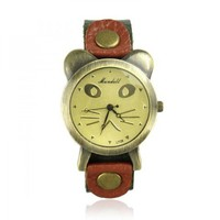 Cat Face Leather Watch by Hallomall