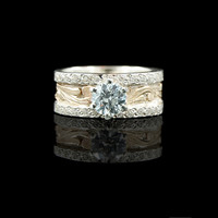 Scrolled Gold Crystal Solitaire Ring - Hyo Silver