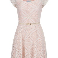 Contrast Lace Belted Dress - First Blush Combo