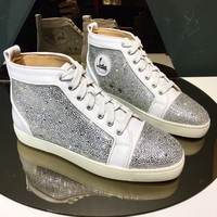 Christian Louboutin CL mens white Fashionable Casual High Top Monogram Leisure Sports Shoes Sneakers   Shoes Flat Shoe Red Bottom and Liutin boot best quality