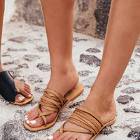 Buy Deck Slides - Tan Leather Online by SABO SKIRT