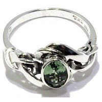 Faceted Moldavite Ring Nouveau Sizes 4-12 Sterling Silver 925