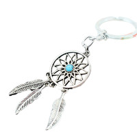 1 pcs 2016 Fancyqube New Hot Ancient silver Dreamcatcher Keychain Leaf feather tassel  dream catcher Key chain Ring