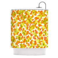 "Ebi Emporium ""Giraffe Spots - Orange"" Orange Yellow Shower Curtain"