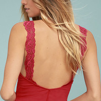 Free People Flipside Red Lace Tank Top