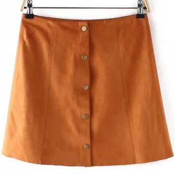 Brown Buttons A Line Mini Skirt