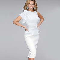 VfEmage Womens Elegant Ruffle Sleeve Ruched Party Wear To Work Fitted Stretch Slim Wiggle Pencil Sheath Bodycon Dress 1157