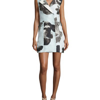 Women's Printed Crepe Vest Dress - Risto - Grey multi (SMALL)