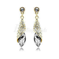 1 Pair Fashion Shining Crystal Rhinestone Teardrop Silver/Gold Dangle Earrings