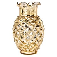Vintage Mercury Glass Vase (6-Inch, Willa Ruffled Pineapple Design, Gold) - Decorative Flower Vase - For Home Decor and Wedding Centerpieces