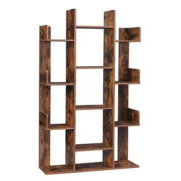 """VASAGLE Bookshelf, Tree-Shaped Bookcase with 13 Storage Shelves, Rounded Corners, 33.9""""L x 9.8""""W x 55.1""""H, Rustic Brown ULBC67BXV1"""