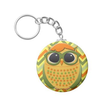 Orange Yellow Green Hipster Owl with Glasses Basic Round Button Keychain