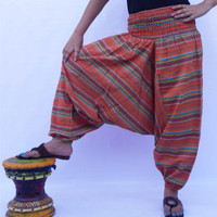 Cotton Stripe Pants / Yoga Pants / Gennie Pants / Gypsy Pants / Loose Baggy Pants / Indian Harem Pants / Boho Pants / Aladdin Pants*********