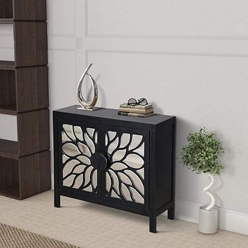 """32"""" Rustic Accent Storage Cabinet with Flower Design Mirrored Front, Black By The Urban Port"""
