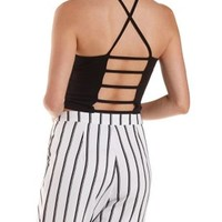 Caged Back Racer Front Crop Top by Charlotte Russe