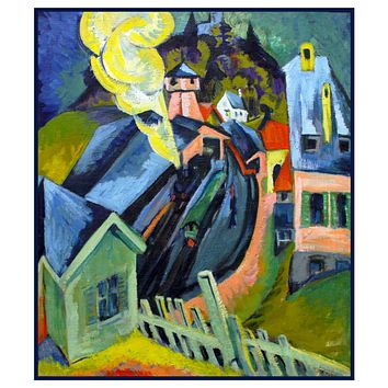 The Train Station in K??nigstein Germany by Ernst Ludwig Kirchner Counted Cross Stitch Pattern