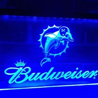 LD297- Miami Dolphins Budweiser Bar   LED Neon Light Sign     home decor  crafts