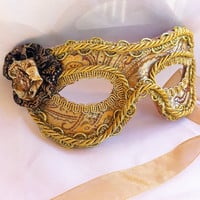 Leather and Gold Brocade Masquerade Mask