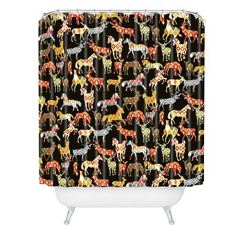 Sharon Turner Deer Horse Ikat Party Shower Curtain