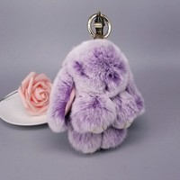 Mini Rabbit Keychain  Rabbit Fur Pompom Key Chains Women Bags Decorative Pendant Car Keys Accessories Baby Plush ToysKawaii Pokemon go  AT_89_9