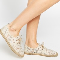 Soludos Derby Lace Up Ivory Tulip Lace Espadrille Flat Shoes