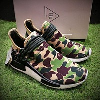 Bape x Adidas NMD Human Race Green Camo Boost Sport Running Shoes