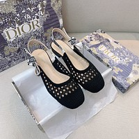 DIOR Opencut net top rattan pattern open heel flat shoes