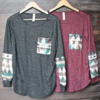 Final Sale - Chevron Aztec Sequin Sleeves & Pocket Lightweight Long Sleeve Shirt In 2 Colors