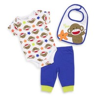 "Baby Starters® Sock Monkey ""Lil Star"" 3-Piece Bib, Bodysuit, and Pant Set in White/Blue"